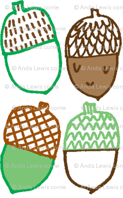 Acorns in brown and green