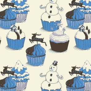 Winter Cupcakes Blue