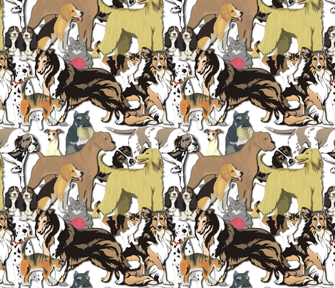 Cats_and_Dogs fabric by lacefairy on Spoonflower - custom fabric
