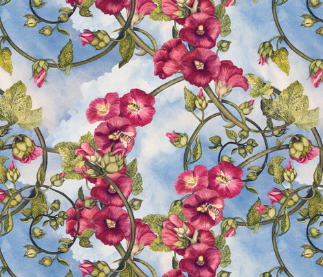Hollyhock Spiral fabric by helenklebesadel on Spoonflower - custom fabric