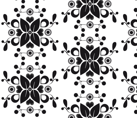 folklore_damask_black fabric by snork on Spoonflower - custom fabric