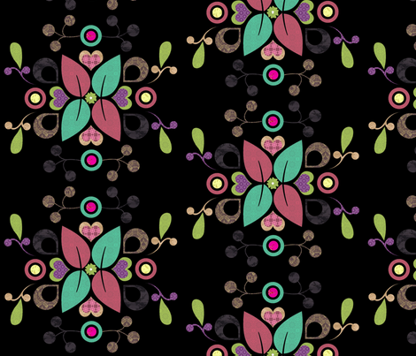 folklore_damask_dark fabric by snork on Spoonflower - custom fabric