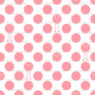 Monster Polka Dots - Girl (white background)