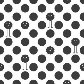 Monster Polka Dots - Black and White