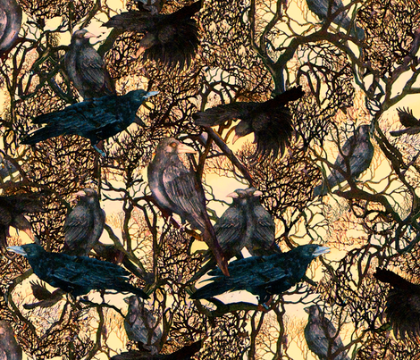 A Murder of Crows fabric by helenklebesadel on Spoonflower - custom fabric