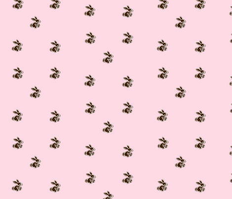 rabbits_pink fabric by snork on Spoonflower - custom fabric