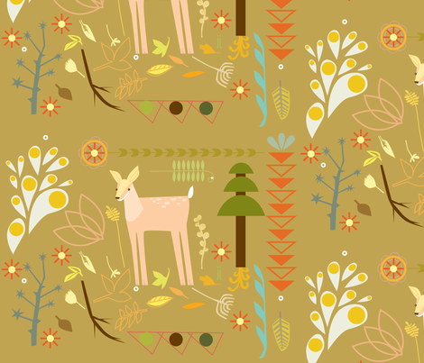 deer on tan fabric by junej on Spoonflower - custom fabric