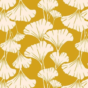 ginkgo leaves print mustard