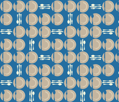 SetTheTableDots-Blue fabric by tammikins on Spoonflower - custom fabric
