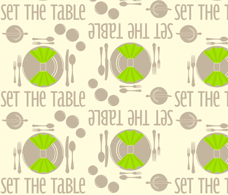 SetTheTable-Green fabric by tammikins on Spoonflower - custom fabric