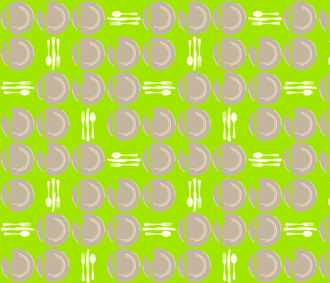 SetTheTableDots-Green fabric by tammikins on Spoonflower - custom fabric