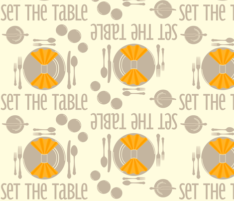 SetTheTable-Orange fabric by tammikins on Spoonflower - custom fabric