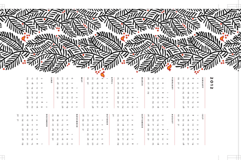 arborvitae calendar towel fabric by monmeehan on Spoonflower - custom fabric