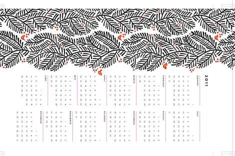 arborvitae calendar towel fabric by monmeehan on Spoonflower - custom fabric