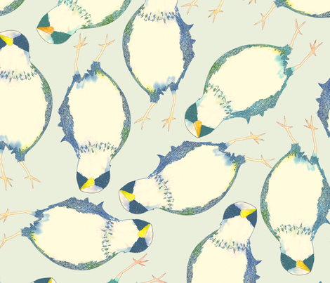 Birds in Blue fabric by lydia_meiying on Spoonflower - custom fabric