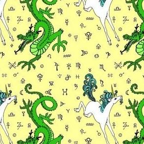 the odd couple:unicorn and dragon