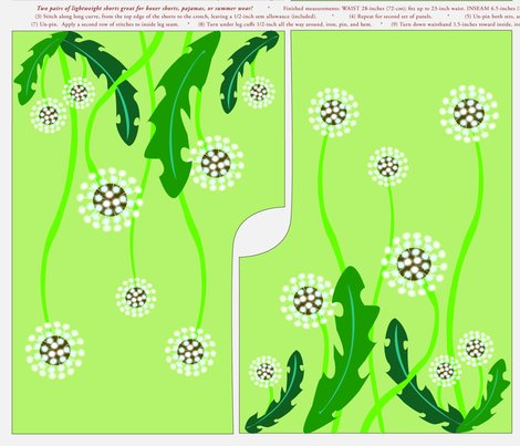 Rrshorts.dandelion_field_and_fern_fronds_with_red_bird_shop_preview
