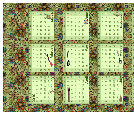 spoon-wall-calendar fabric by madam0wl on Spoonflower - custom fabric