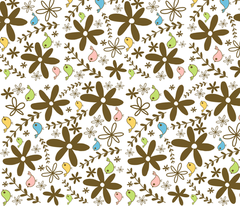 Brown flowers and birds fabric by emilyb123 on Spoonflower - custom fabric