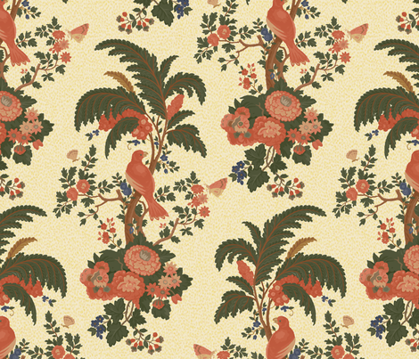 Parrot Forest Toile 1a fabric by muhlenkott on Spoonflower - custom fabric