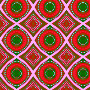 Bold Red & Green Tribal Christmas