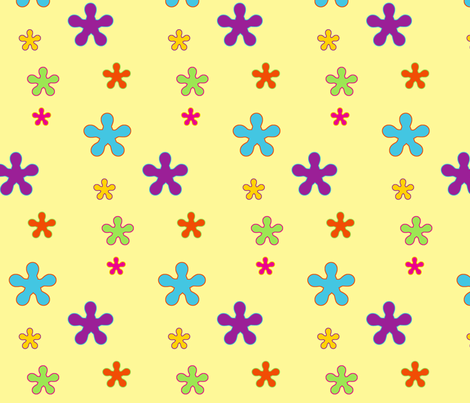 happy_flowers_pale_yellow fabric by snork on Spoonflower - custom fabric