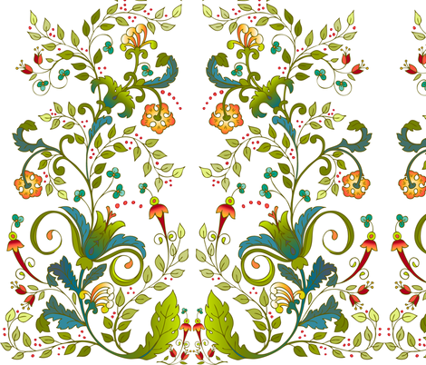 russianfloral-whitebg fabric by leslipepper on Spoonflower - custom fabric