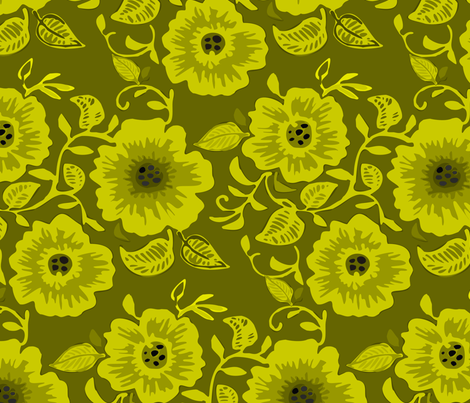 Green flora fabric by renule on Spoonflower - custom fabric