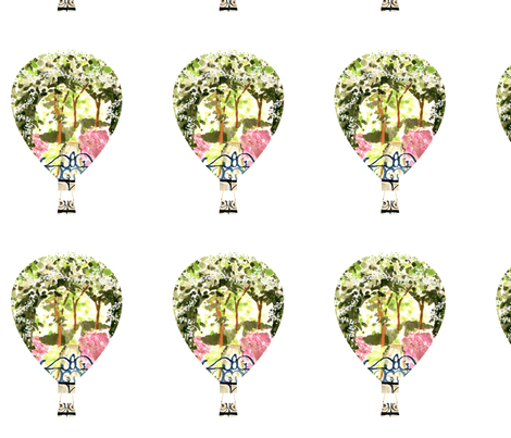 Secret Garden hot air balloons fabric by karenharveycox on Spoonflower - custom fabric