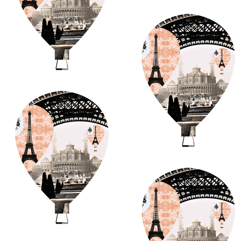 Parisian Hot Air Ballon fabric by karenharveycox on Spoonflower - custom fabric