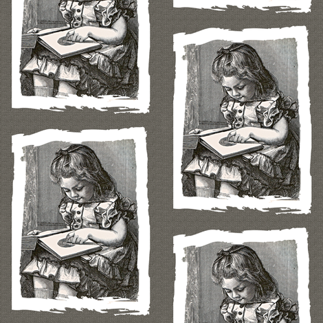 For The Love of old Books, little girl fabric by karenharveycox on Spoonflower - custom fabric