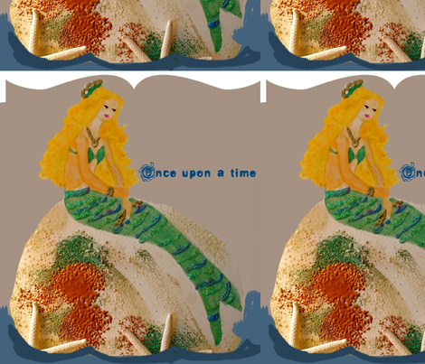 Mermaid Once upon a time with text fabric by karenharveycox on Spoonflower - custom fabric