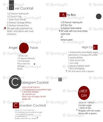 Classic cocktail recipes in gray, dark red, and white print