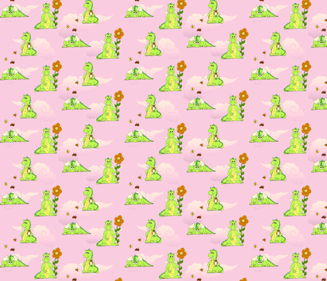 GreenDragons8in fabric by thelazygiraffe on Spoonflower - custom fabric
