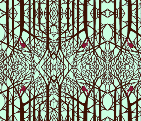 Winter Cardinal fabric by poetryqn on Spoonflower - custom fabric
