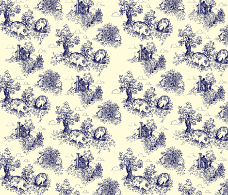 Pastoral Piggy Toile - large scale fabric by tinet on Spoonflower - custom fabric