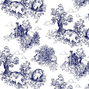 Pastoral Piggy Toile - large scale