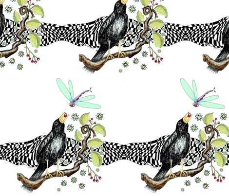 crow_and_berry_digital_enhanced_birdcontest fabric by vickijenkinsart on Spoonflower - custom fabric