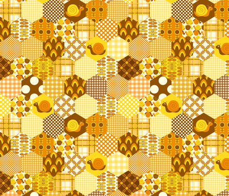 Orange Hexagon fabric by nanetteregan on Spoonflower - custom fabric