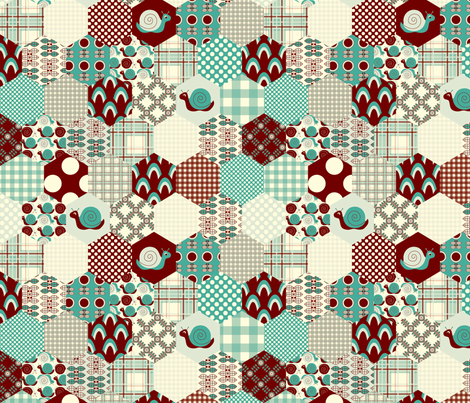 Blue Hexagon  fabric by nanetteregan on Spoonflower - custom fabric