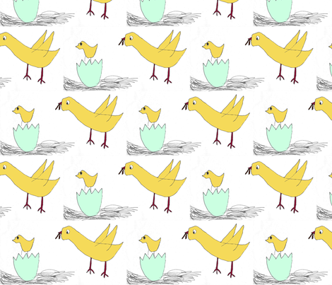 Bird With Worm fabric by bigjoe on Spoonflower - custom fabric