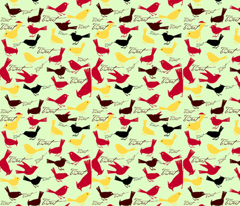 Tweeting fabric by cabinpressstudio on Spoonflower - custom fabric