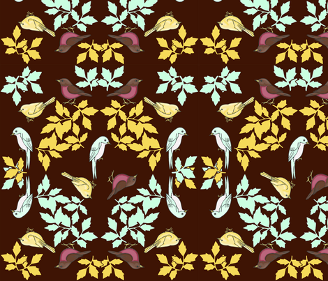 bird wreath brown fabric by mytinystar on Spoonflower - custom fabric