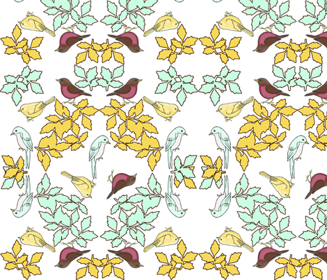 bird wreath white fabric by mytinystar on Spoonflower - custom fabric