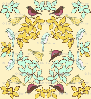 bird wreath yellow
