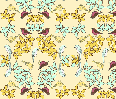 bird wreath yellow fabric by mytinystar on Spoonflower - custom fabric