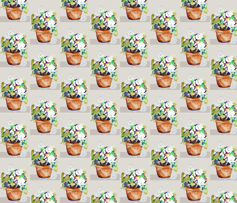 Potted Petunias fabric by karenharveycox on Spoonflower - custom fabric