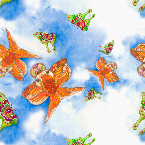 Watercolor Sky - Chinese Kites  fabric by joybucket on Spoonflower - custom fabric