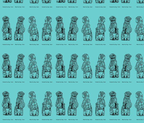 Vintage Foo Dogs fabric by ecodomestica on Spoonflower - custom fabric