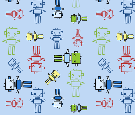 fabric_robots_blue_background fabric by emilyb123 on Spoonflower - custom fabric